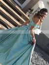 A-line Off-the-shoulder Satin Sweep Train Split Front Prom Dresses #LDB020105733