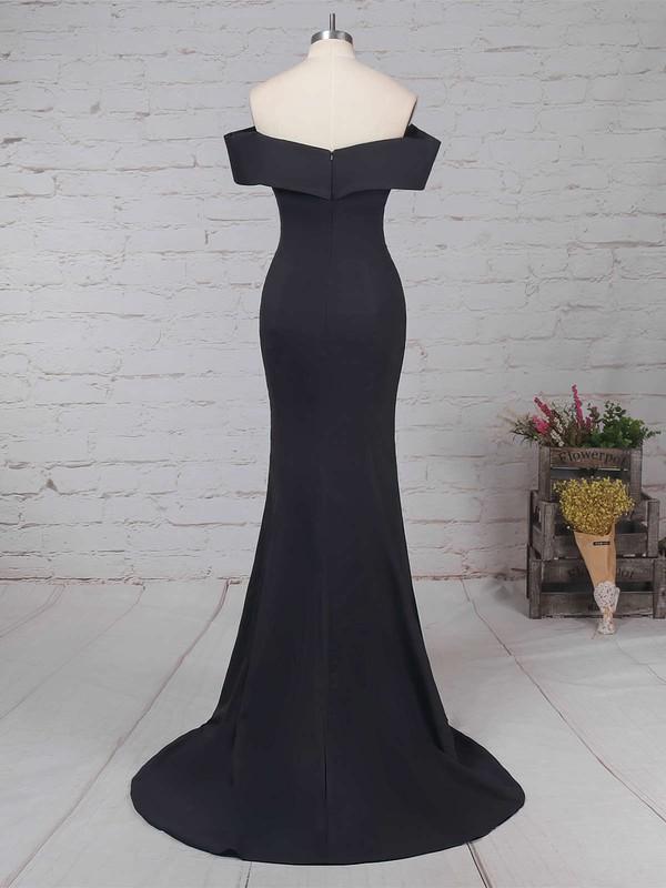 Trumpet/Mermaid Off-the-shoulder Silk-like Satin Sweep Train Split Front Prom Dresses #LDB020105741