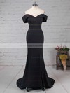 Trumpet/Mermaid Off-the-shoulder Silk-like Satin Sweep Train Split Front Prom Dresses #LDB020105741