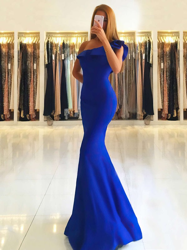 Trumpet/Mermaid One Shoulder Silk-like Satin Floor-length Ruffles Prom Dresses #LDB020105742