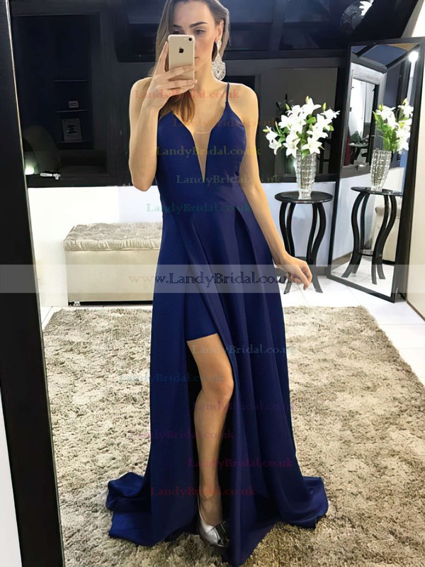 A-line V-neck Satin Sweep Train Split Front Prom Dresses #LDB020105750