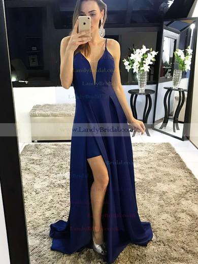 A-line V-neck Satin Sweep Train Split Front Prom Dresses #LDB020105750