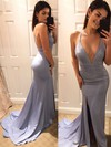 Trumpet/Mermaid V-neck Silk-like Satin Sweep Train Split Front Prom Dresses #LDB020105753