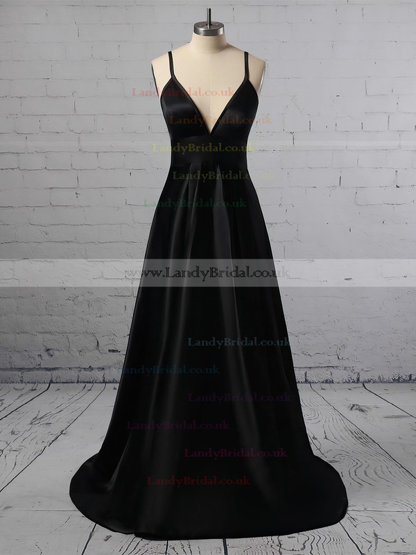 A-line V-neck Satin Sweep Train Split Front Prom Dresses #LDB020105754