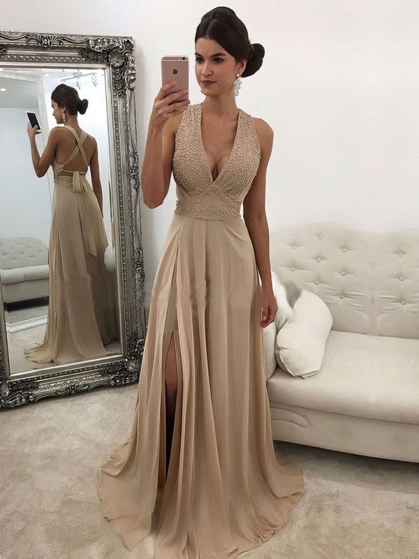 A-line V-neck Chiffon Sweep Train Beading Prom Dresses #LDB020105761