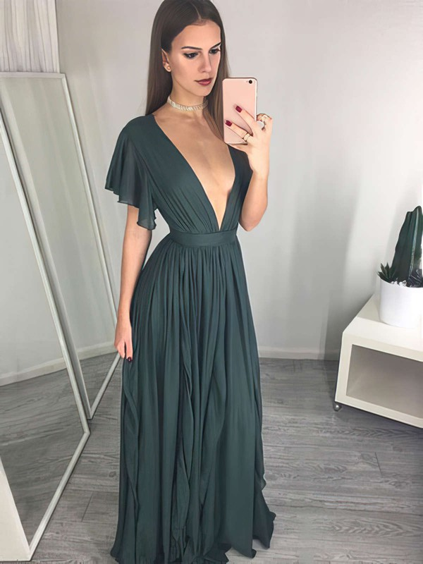 A-line V-neck Chiffon Floor-length Ruffles Prom Dresses #LDB020105763