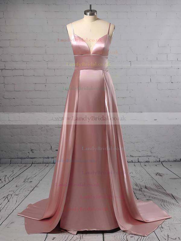 A-line V-neck Silk-like Satin Sweep Train Split Front Prom Dresses #LDB020105768