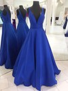 Princess V-neck Satin Floor-length Prom Dresses #LDB020105771