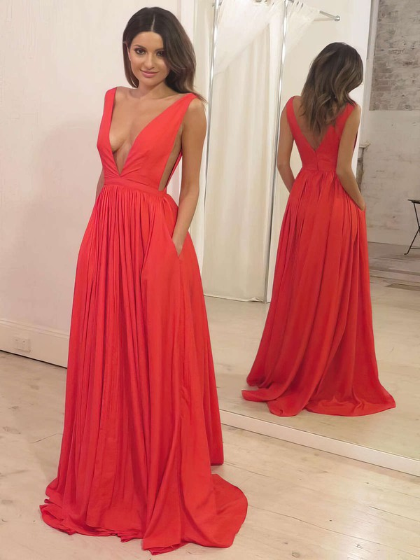 A-line V-neck Silk-like Satin Sweep Train Pockets Prom Dresses #LDB020105773