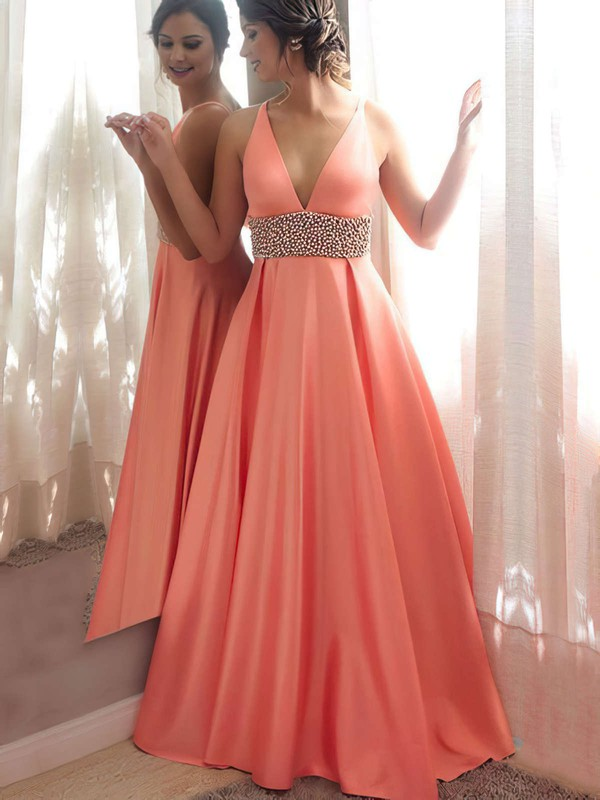 Princess V-neck Satin Floor-length Beading Prom Dresses #LDB020105777