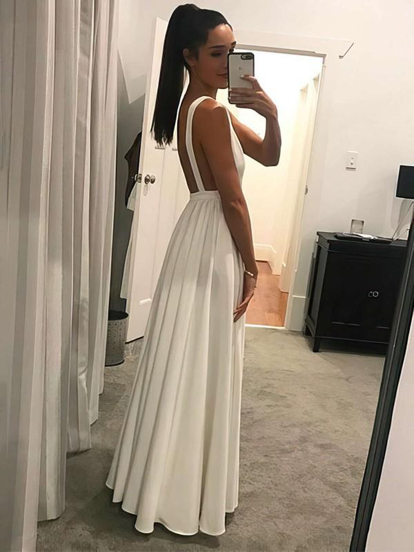 A-line V-neck Chiffon Floor-length Prom Dresses #LDB020105778