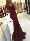 Trumpet/Mermaid V-neck Lace Sweep Train Prom Dresses #LDB020105788