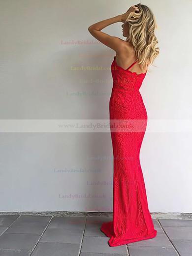 Sheath/Column Halter Lace Sweep Train Prom Dresses #LDB020105793