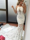 Trumpet/Mermaid Scoop Neck Lace Sweep Train Appliques Lace Prom Dresses #LDB020105804