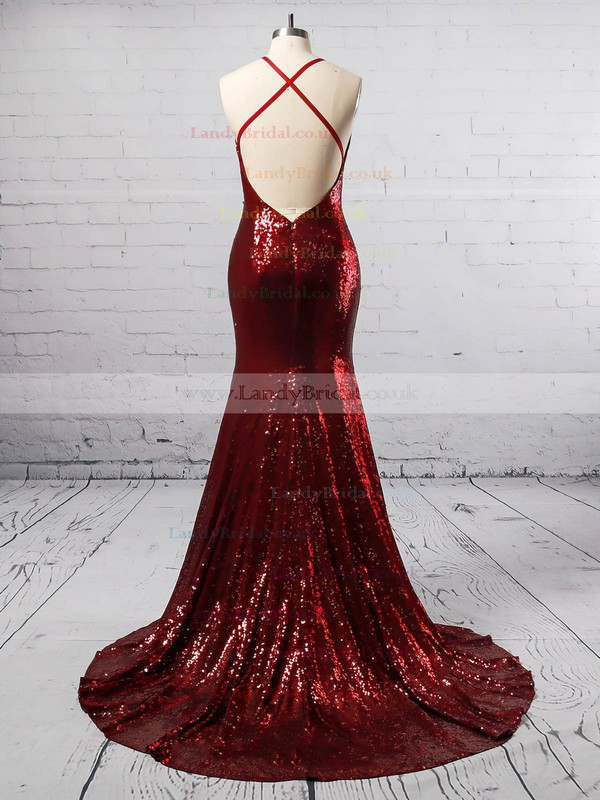 Trumpet/Mermaid V-neck Sequined Sweep Train Prom Dresses #LDB020105807