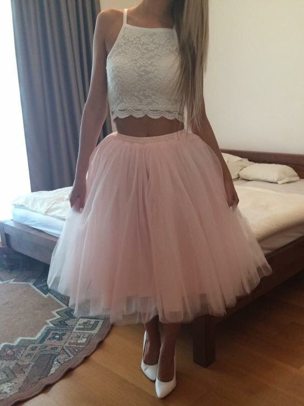 Ball Gown Square Neckline Lace Tulle Tea-length Prom Dresses #LDB020105821
