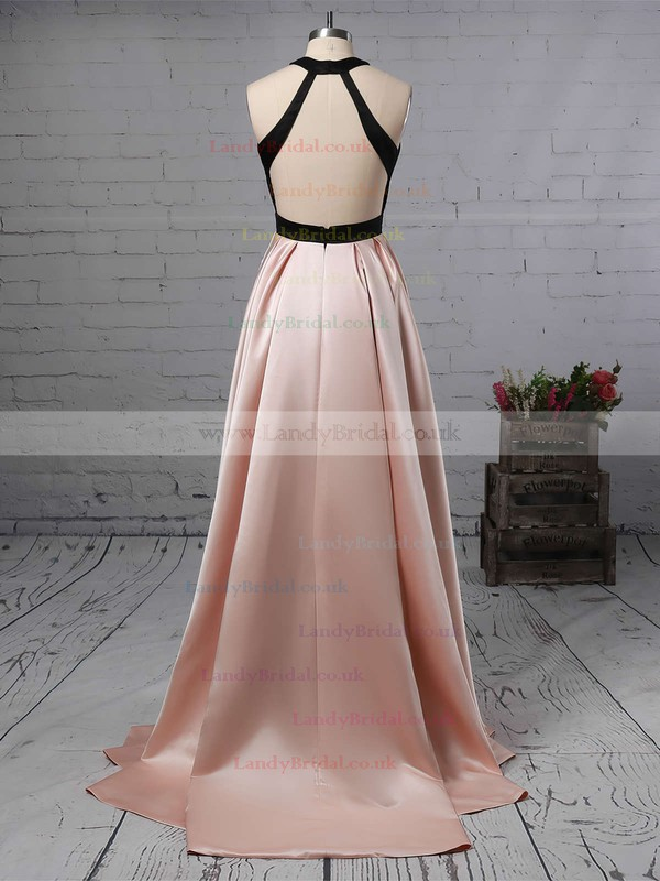 A-line Halter Satin Sweep Train Prom Dresses #LDB020105926