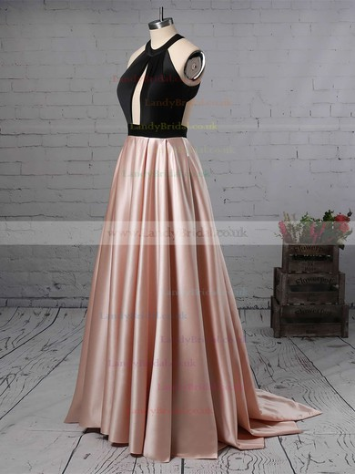 A-line Halter Satin Sweep Train Prom Dresses #LDB020105926