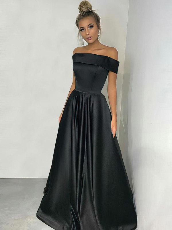 A-line Off-the-shoulder Silk-like Satin Floor-length Prom Dresses #LDB020105934