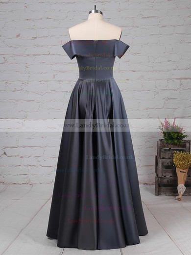 A-line Off-the-shoulder Silk-like Satin Floor-length Prom Dresses #LDB020105934