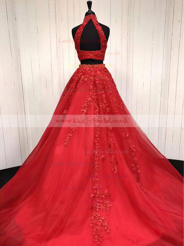 A-line Halter Tulle Sweep Train Beading Prom Dresses #LDB020105939