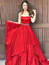 A-line Strapless Taffeta Floor-length Sashes / Ribbons Prom Dresses #LDB020105941