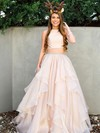 Princess Scoop Neck Organza Floor-length Beading Prom Dresses #LDB020105943