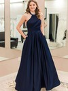 A-line Halter Satin Floor-length Pockets Prom Dresses #LDB020105946