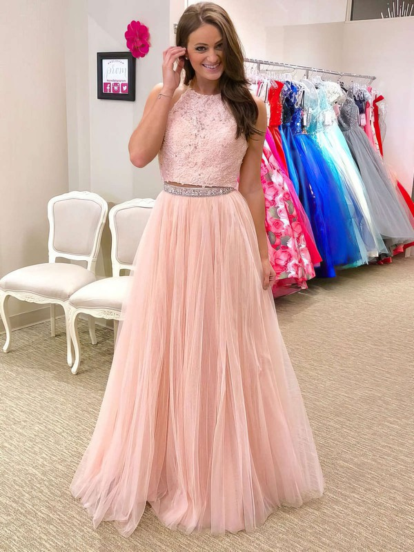 A-line Halter Tulle Floor-length Beading Prom Dresses #LDB020105947