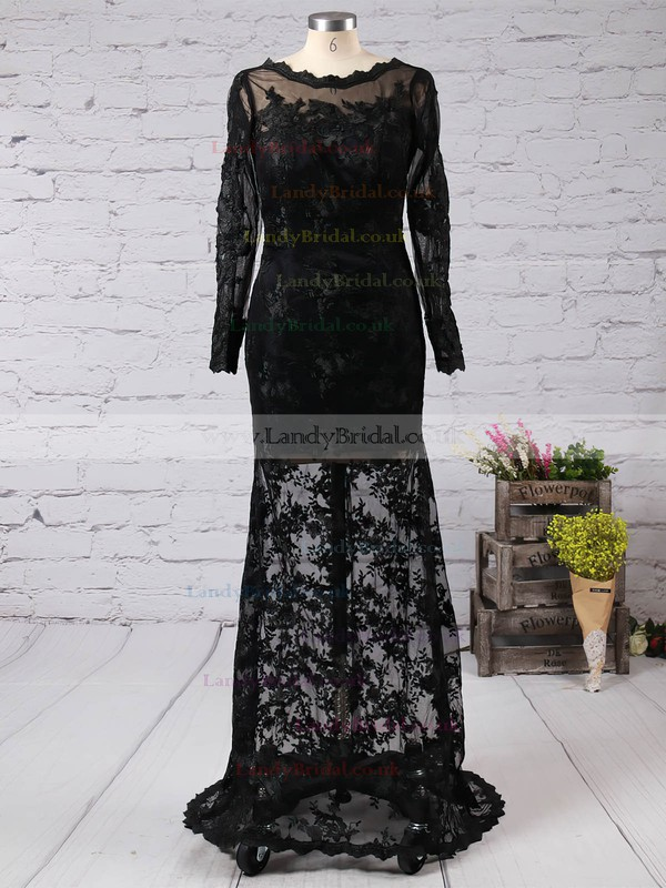 Cheap Long Sleeve Trumpet/Mermaid Black Lace Scalloped Neck Prom Dress #LDB02015408