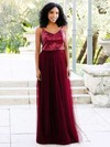 A-line V-neck Tulle Sequined Floor-length Prom Dresses #LDB020106038