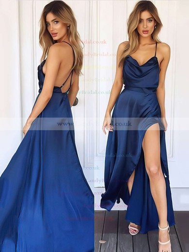 Sheath/Column Cowl Neck Silk-like Satin Ankle-length Split Front Prom Dresses #LDB020106046