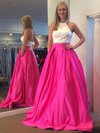 Ball Gown Halter Satin Sweep Train Pockets Prom Dresses #LDB020106051