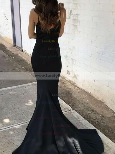 Trumpet/Mermaid V-neck Silk-like Satin Sweep Train Prom Dresses #LDB020106061