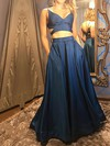A-line V-neck Satin Floor-length Pockets Prom Dresses #LDB020106063