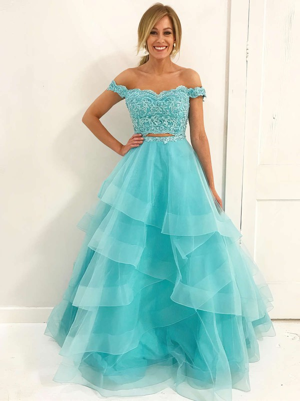 A-line Sweetheart Lace Organza Floor-length Cascading Ruffles Prom Dresses #LDB020106068