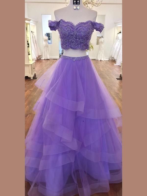 A-line Sweetheart Lace Organza Floor-length Cascading Ruffles Prom Dresses #LDB020106068