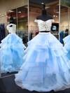 Princess Off-the-shoulder Organza Floor-length Appliques Lace Prom Dresses #LDB020106069