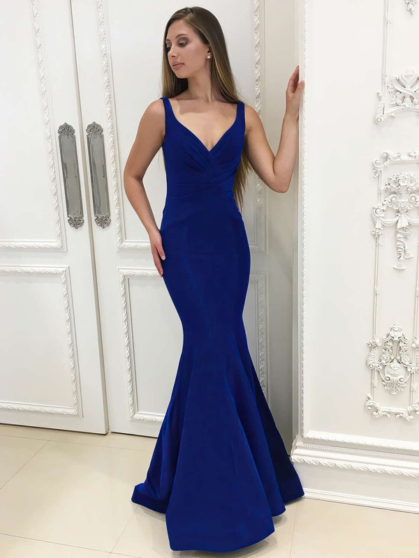 Trumpet/Mermaid V-neck Velvet Floor-length Ruffles Prom Dresses #LDB020106073