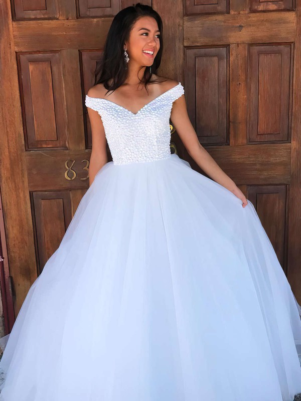 Ball Gown Off-the-shoulder Tulle Floor-length Beading Prom Dresses #LDB020106082