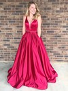 Ball Gown V-neck Satin Floor-length Beading Prom Dresses #LDB020106085