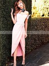 Sheath/Column Off-the-shoulder Silk-like Satin Tea-length Bow Prom Dresses #LDB020106087