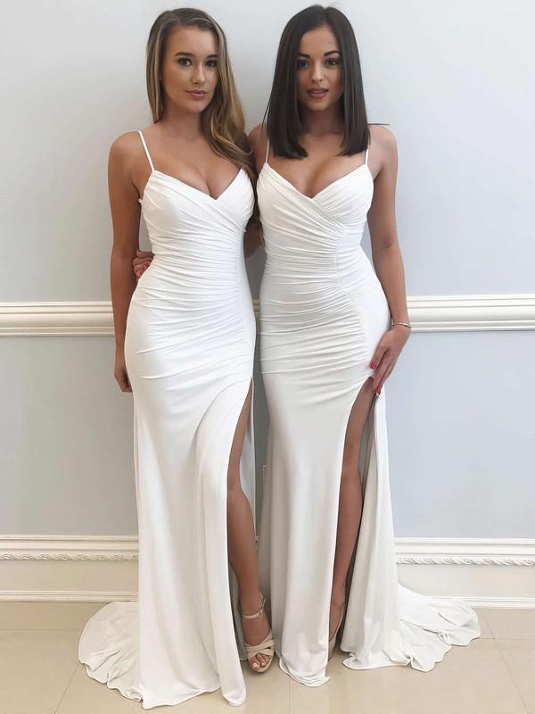 Sheath/Column V-neck Jersey Sweep Train Ruffles Prom Dresses #LDB020106089