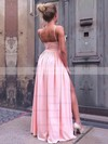A-line V-neck Silk-like Satin Floor-length Split Front Prom Dresses #LDB020106103