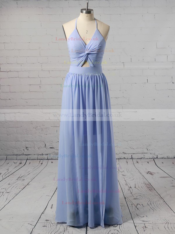 A-line Halter Chiffon Ankle-length Split Front Prom Dresses #LDB020106104