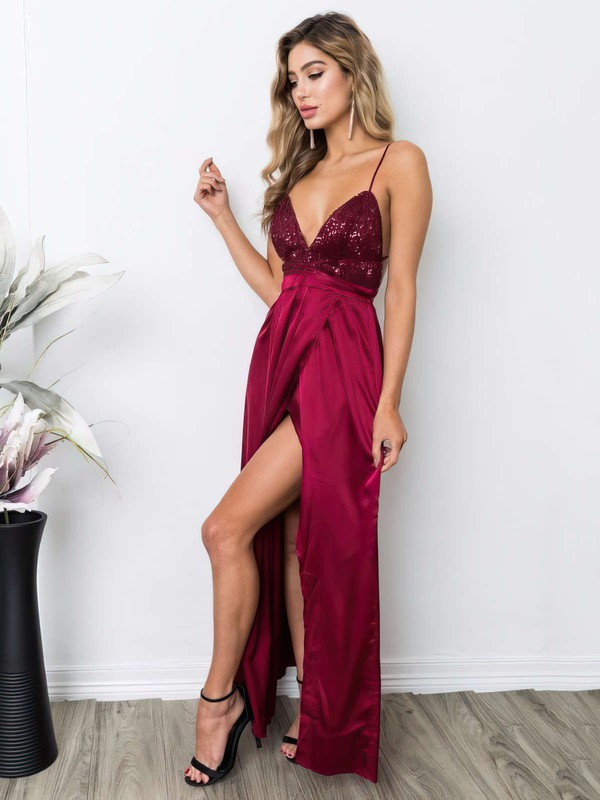 Sheath/Column V-neck Sequined Silk-like Satin Ankle-length Split Front Prom Dresses #LDB020106105