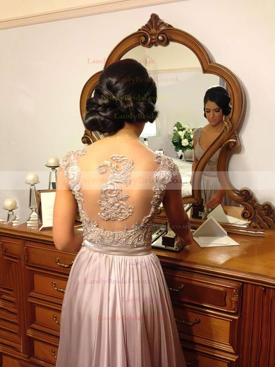 A-line V-neck Chiffon Floor-length Beading Prom Dresses #LDB02015284