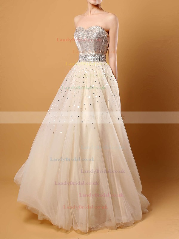 Princess Sweetheart Tulle Sweep Train Crystal Detailing Prom Dresses #LDB02016059