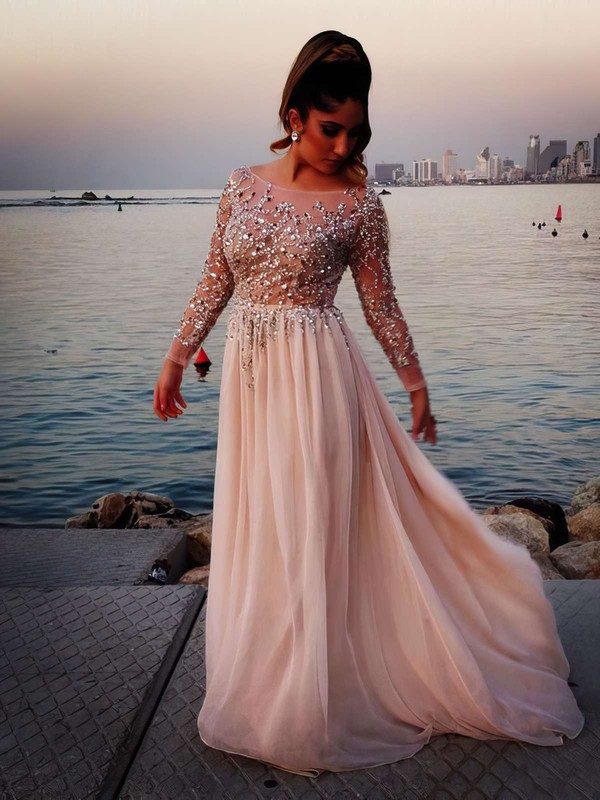 A-line Scoop Neck Chiffon Tulle Sweep Train Beading Prom Dresses #LDB02016063