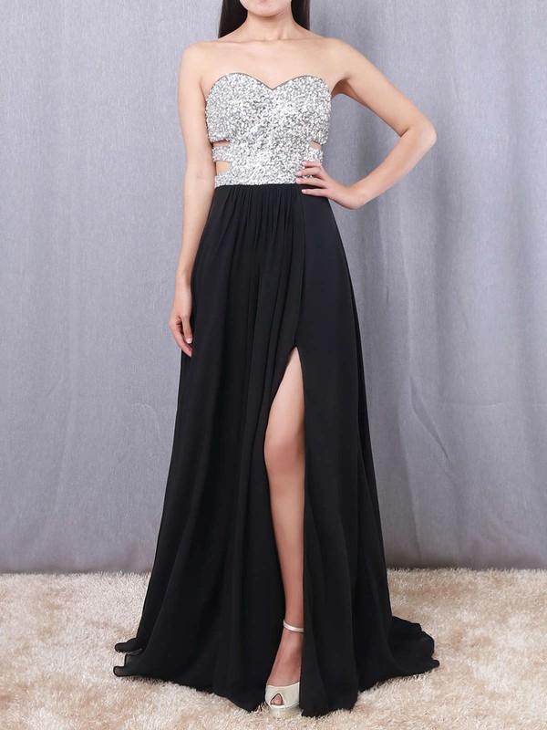 A-line Sweetheart Chiffon Floor-length Beading Prom Dresses #LDB02016065